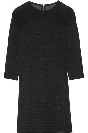 KARL LAGERFELD Tinsel-trimmed paneled crepe, chiffon and satin mini dress
