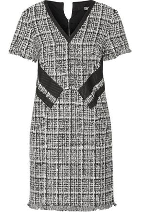 KARL LAGERFELD Fringed cotton-blend tweed mini dress
