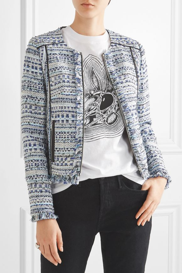 Satin-trimmed fringed metallic tweed jacket   KARL LAGERFELD   Sale up to 70%  off   THE OUTNET
