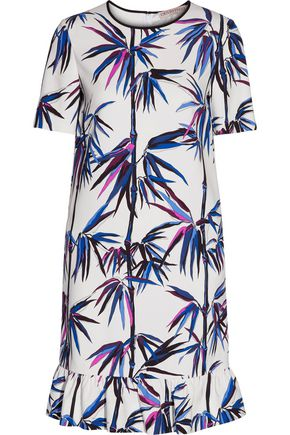 EMILIO PUCCI Ruffle-trimmed printed satin-twill dress