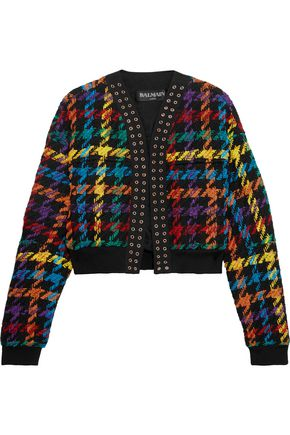 BALMAIN Houndstooth cotton-blend bomber jacket