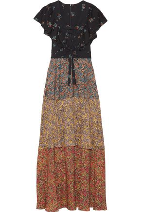 PHILOSOPHY di LORENZO SERAFINI Tiered lace-up printed cady maxi dress