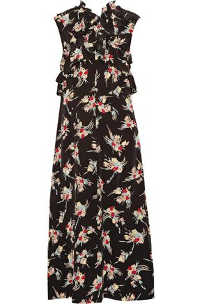 MARNI Ruffled floral-print silk crepe de chine midi dress