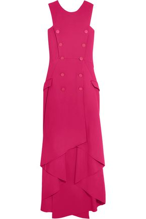 ANTONIO BERARDI Asymmetric button-detailed crepe maxi dress