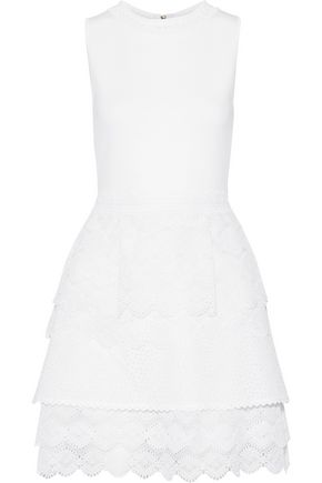 ANTONIO BERARDI Stretch-knit, broderie anglaise organza and poplin mini dress