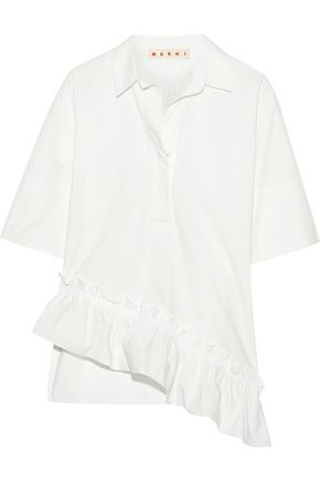 MARNI Asymmetric ruffle-trimmed cotton-poplin top