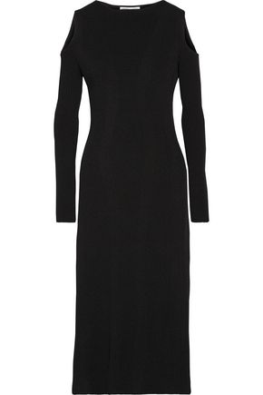 BARBARA CASASOLA Cold-shoulder ribbed stretch-knit midi dress