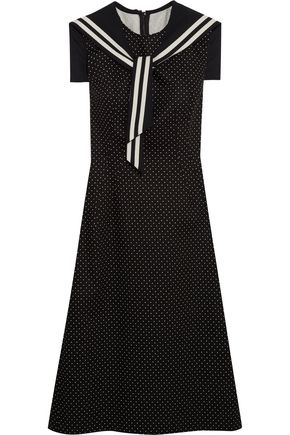 DOLCE & GABBANA Crystal-embellished polka-dot cotton-blend twill dress