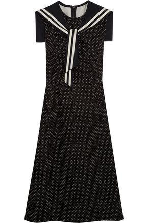 DOLCE & GABBANA Crystal-embellished polka-dot cotton-blend twill dress