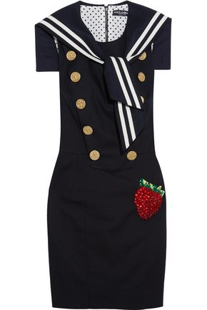 DOLCE & GABBANA Embellished stretch cotton-blend gabardine mini dress