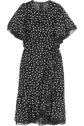 DOLCE & GABBANA Lace-trimmed polka-dot silk-blend chiffon dress
