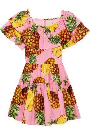 DOLCE & GABBANA Ruffled printed cotton-poplin mini dress