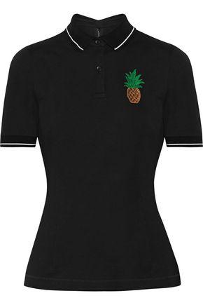DOLCE & GABBANA Appliquéd cotton-piqué polo shirt