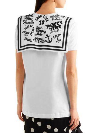 DOLCE & GABBANA Embroidered twill-paneled cotton-jersey T-shirt