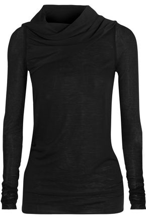 RICK OWENS Draped crepe de chine-trimmed stretch-jersey top