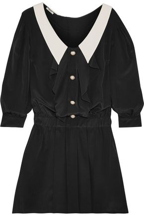 MIU MIU Embellished two-tone pleated satin mini dress
