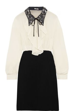 MIU MIU Embellished ruffled silk and cady mini dress