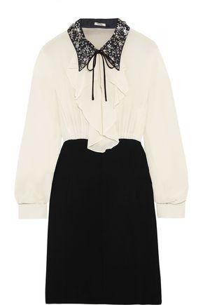MIU MIU Embellished ruffled silk and cady mini dress