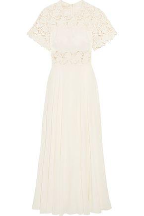 GIAMBATTISTA VALLI Guipure lace-paneled silk crepe de chine gown