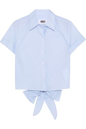 MM6 by MAISON MARGIELA Tie-back striped cotton-poplin shirt