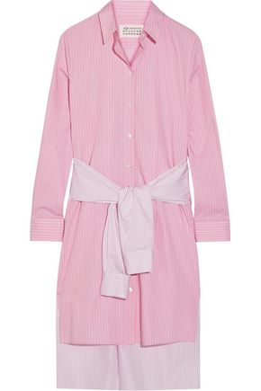 MAISON MARGIELA Tie-front striped cotton-poplin shirt dress