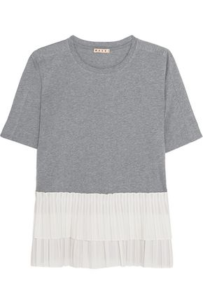 MARNI Cotton-jersey and tiered pleated poplin T-shirt