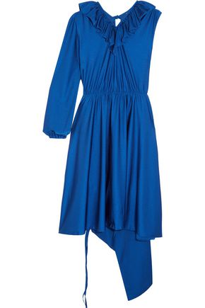 VETEMENTS Asymmetric ruffled stretch-satin dress