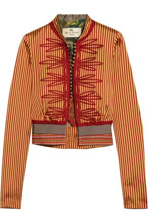 ETRO Appliquéd striped silk jacket
