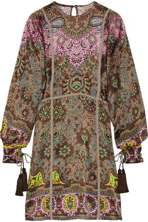 ETRO Grosgrain-trimmed printed silk-twill dress
