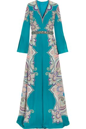 ETRO Embellished paisley-print silk gown
