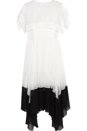 CHLOÉ Draped plissé crepe de chine and chiffon midi dress