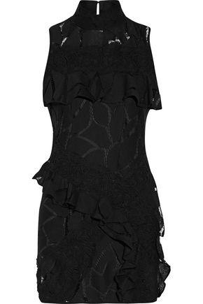IRO Ester ruffle-trimmed crocheted cotton-blend mini dress