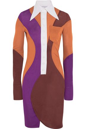 GIVENCHY Color-block crepe mini dress