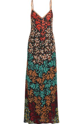 MISSONI Embroidered crochet-knit maxi dress