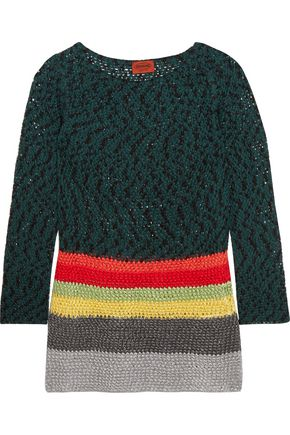 MISSONI Striped crochet-knit cotton-blend tunic
