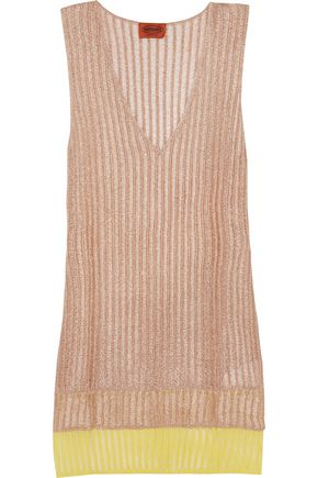 MISSONI Layered metallic crochet-knit tunic