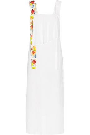 MSGM Layered printed crepe midi dress