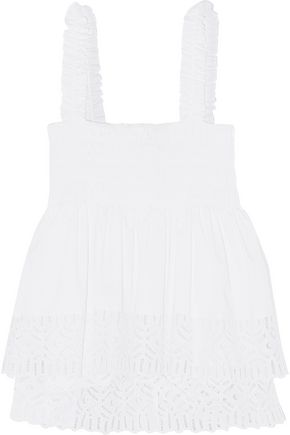 TORY BURCH Smocked broderie anglaise cotton-blend top
