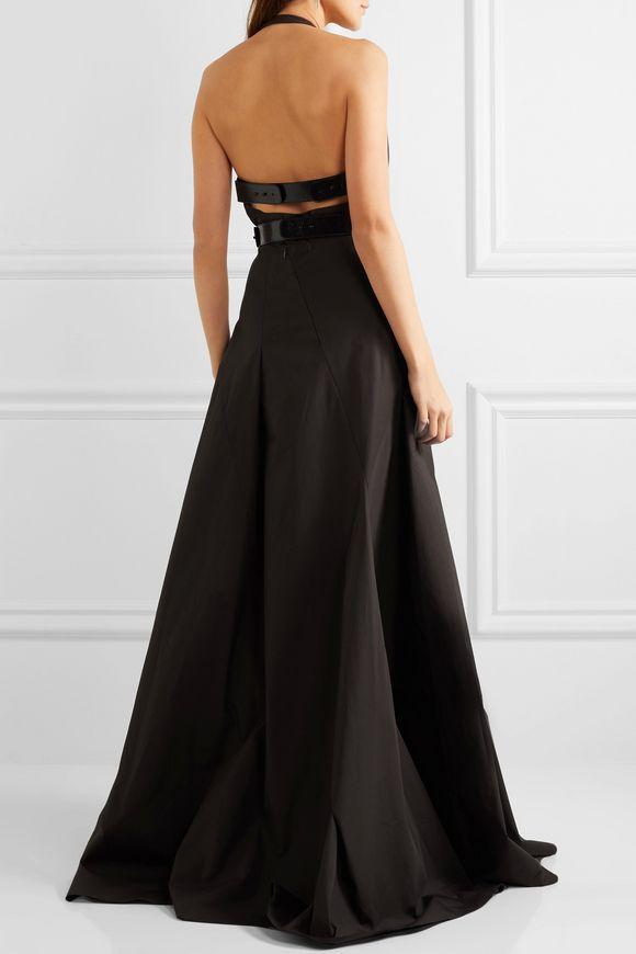 Leather-trimmed cotton halterneck gown | BOTTEGA VENETA | Sale up to 70% off  | THE OUTNET