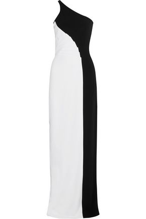 STELLA McCARTNEY Natalia one-shoulder two-tone stretch-cady gown