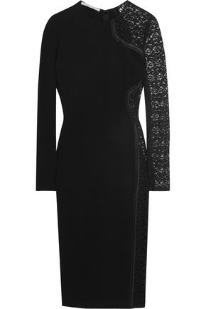 STELLA McCARTNEY Lace-paneled stretch-crepe dress