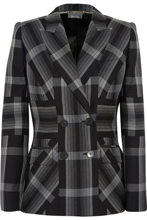 ALEXANDER MCQUEEN Checked silk and wool-blend blazer