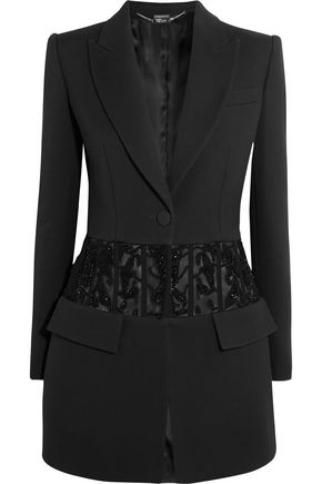 ALEXANDER MCQUEEN Bead-embellished tulle-paneled crepe blazer