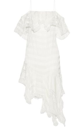 PHILOSOPHY di LORENZO SERAFINI Asymmetric striped lace and twill mini dress