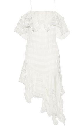 PHILOSOPHY di LORENZO SERAFINI Asymmetric striped lace and twill mini dress