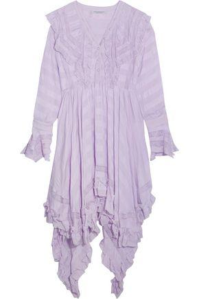 PHILOSOPHY di LORENZO SERAFINI Asymmetric lace-paneled seersucker dress