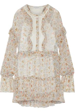 PHILOSOPHY di LORENZO SERAFINI Lace-paneled floral-print georgette mini dress