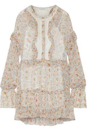 PHILOSOPHY di LORENZO SERAFINI Lace-paneled floral-print georgette mini dress