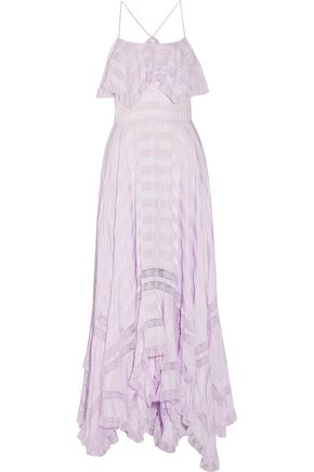PHILOSOPHY di LORENZO SERAFINI Bella asymmetric lace-paneled seersucker maxi dress