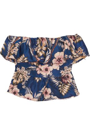 PHILOSOPHY di LORENZO SERAFINI Off-the-shoulder ruffled floral-jacquard top